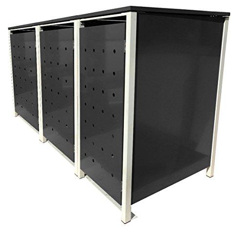 BBT@ | Hochwertige Mülltonnenbox für 3 Tonnen je 240 Liter mit Klappdeckel in Schwarz / Aus stabilem pulver-beschichtetem Metall / Ohne Stanzung / In verschiedenen Farben sowie mit unterschiedlichen Blech-Stanzungen erhältlich / Mülltonnenverkleidung Müllboxen Müllcontainer - 2