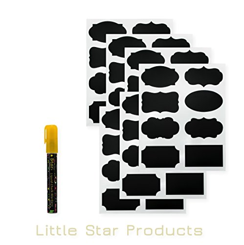 little-star-chalkboard-labels-kit-64-stickers-label-with-white-gold-6mm-liquid-chalk-marker-pens-dif