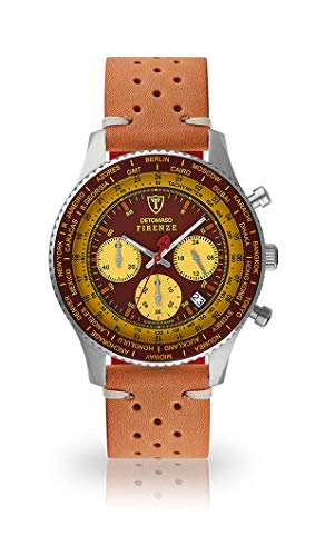 DETOMASO Firenze Mens Watch Chronograph Analogue Quartz Light Brown Vintage Leather Strap red-Yellow dial SL1624C-BY-843