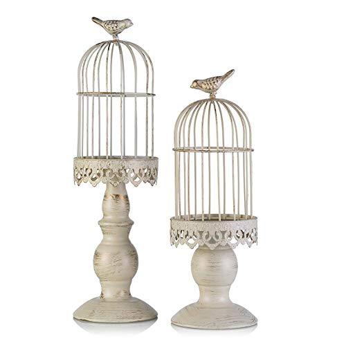 Vintage Vogelkäfig Kerzenleuchter, Dekoration Kerzenhalter für Hochzeit und Esstisch, Kerzenständer aus Eisen mit Schnitzfiguren (2 Pcs/set)