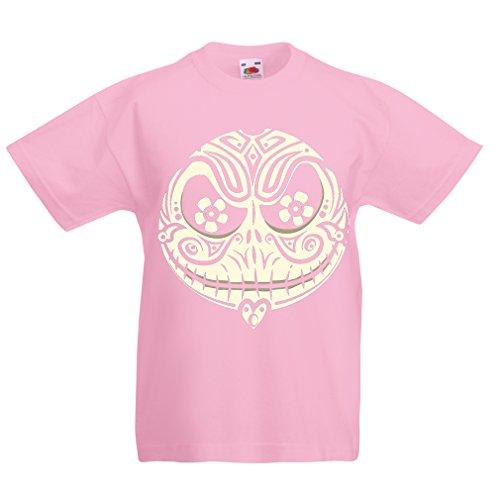 lepni.me Kinder Jungen/Mädchen T-Shirt Das Schädel-Gesicht - Der Alptraum - Gruselige Halloween-Nacht (1-2 Years Pink ()