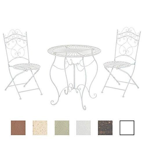CLP Garten-Sitzgruppe Indra aus Eisen | 2X Klappstuhl und 1x Tisch aus Eisen | Pflegeleichte Gartenmöbel im Jugendstil | in Verschiedenen Farben erhältlich Weiß (Antik Beistelltisch-set)