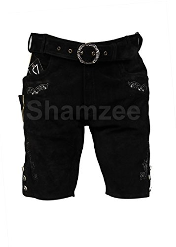 Shamzee Trachten Lederhose Kurz Inklusive Gürtel aus Echtleder in Schwarz Farbe größe 46-62 Artkl 572-BLK (Schwarz, 50)