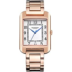 Blenheim London® B3180 Curve Rose Gold Watch White Arabic Numeral with Blue Hands with Stainless Steel Strap
