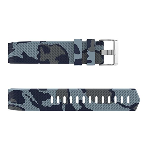 Saingace Small/Large Size Pattern Printed Sport Running Soft Silicone Fitness Replacement Bands Strap Accessaries for Fitbit Charge 2 (Large, D)