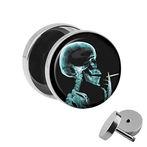 Treuheld | Ohrstecker zum Schrauben - Raucher Skelett Röntgenbild - Motiv Fake-Plug Ø 10mm Silber - Edel-Stahl Ohr-Ringe - Chirurgen-Stahl 316L Fake-Tunnel - Gewinde Ohr-Stecker - Rauchen Skull