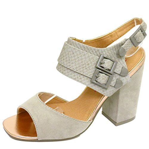 Damen Dolcis grau Chunky Absatz Ankle Strap Peep-Toe-Sandalen Schuhe Größen 3-8 Ankle Strap Peep Toe Sandalen