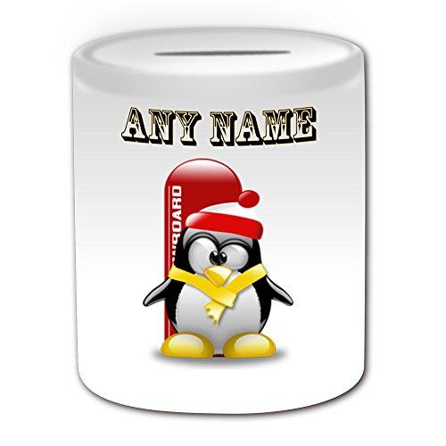 Personalisiertes Geschenk–Snowboard–# 1Spardose (Design Pinguin in Kostüm Thema, weiß)–alle Nachricht/Name auf Ihre einzigartige–Boarding Extreme Sport Skateboard Winter (Kostüme Sport Themen Besten)