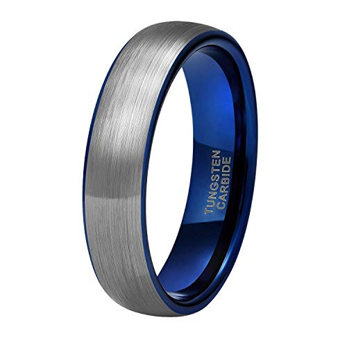 Titaniumcentral 6mm/8mm Wolframcarbid Ringe Gebürstet Trauringe Verlobungsringe (6mm(Wolframcarbid)-Blau, 61 (19.4))