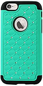 Reiko Premium Hybrid PC and Silicone Double Protection Diamond Bling Case Cover for iPhone 6 - Retail Packaging - Green