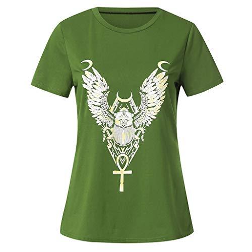 TWIFER Federdruck T Shirt Damen Sommer Feder Druck Kurzarm Tunika Tee Shirt Tops Bluse