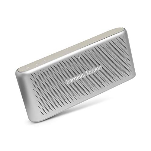 (CERTIFIED REFURBISHED) Harman Kardon Traveler Portable Wireless Speakers with Built-in Power Bank (Silver) Outdoor Speakers at amazon