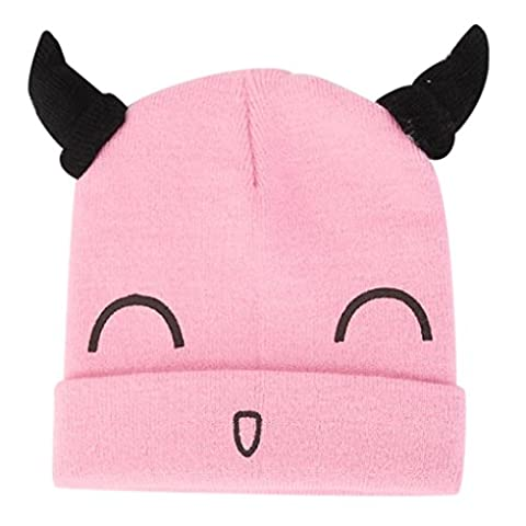 Kingko® Handmade knitted Hats Boys Girls Baby Horn Hat Cute Smiley Face Crochet Knit Costume Fashion