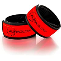 Auraglow Super Bright High Visibility Light-Up LED Arm Band Pulsera reflectante para correr Cycling Safety Band - Paquete doble - Rojo