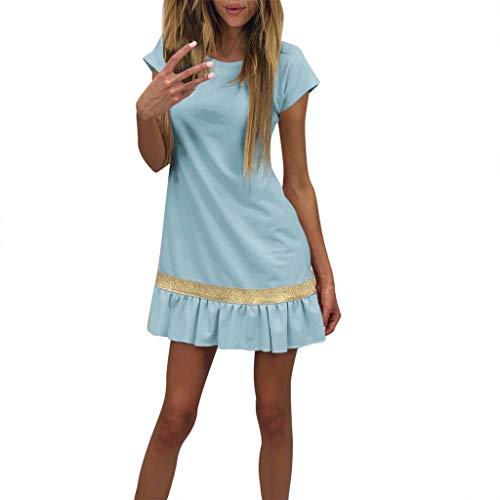KIMODO Damen Kleider Retro Patchwork Kleider Beiläufig Minikleid Hemd Partykleid Abendkleid Frauen Sommerkleid Mode 2019