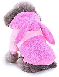 Ropa Perro Pequeño Invierno Terciopelo Sudadera con Capucha Orejas de Conejo Abrigo Jersey para Mascota Chihuahua Yorkshire Cachorro Gusspower