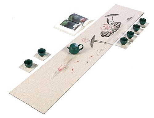 Chemin de table QiangZi Chinois Rétro Peint À La Main Nappe Imperméable À L'eau Pratique Nappe Durable Tous Les Jours Utilisation Decor, 30 * 210cm (Couleur : Style3, taille : 30*280CM)