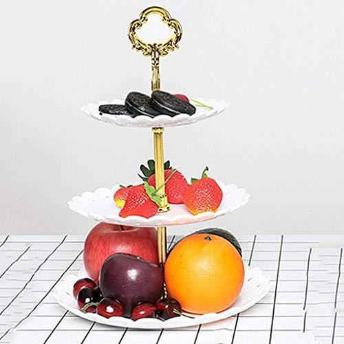 Censhaorme Stand 3-Schicht-Kuchen Fruchtsnacks Kuchen Nüsse Platte Tray Desserts Obst Süßigkeiten Hochzeit Servierplatte (Portion Stand Drei Tier)