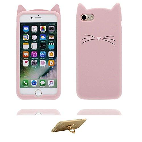 iPhone 7 Copertura,iPhone 7 Custodia,bianca gatto bella 3D del fumetto Gomma morbida di silicone Supporto per copertina Case Cover per iPhone 7 + Supporto ad anello Kickstand # 4