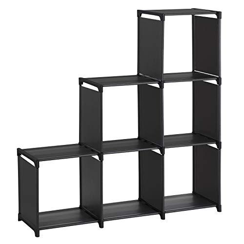 SONGMICS Librería de 6 Compartimientos Organizador en Forma de Escaleras Estantería de Almacenamiento Separador de Habitaciones en Sala de Estar Dormitorio y Baño Negro LSN63BKV1