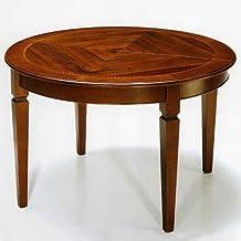 Mesa de comedor Ø cm 120con extensión, extensible cocina de madera, nogal, redondo–fabricado en Italia