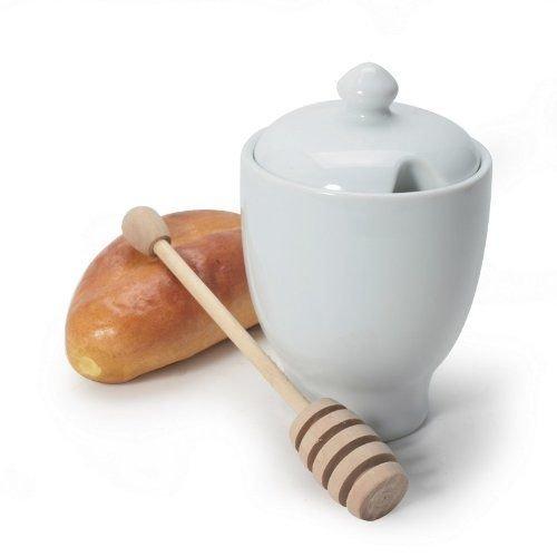 BIA Cordon Bleu Blanc porcelaine 226,8 gram Pot à miel avec Dipper