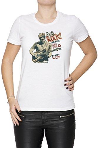 Lets Rock Donna T-shirt Bianco Cotone Girocollo Maniche Corte White Women's T-shirt