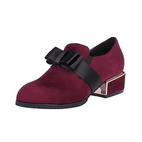 Légeres Tire à Femme Pointu AgooLar Unie Rouge Suédé Couleur Talon Bas Vineux Chaussures xqTwWvFfa