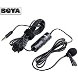 Boya BY-M1 Omnidirectional Lavalier Microphone with 6 Meter Audio Cable and 1/4' Adapter Clip-On Mic for Smartphones, Canon, Nikon DSLR Cameras and Camcorders (Mic For Youtube, Interview etc.)- Black