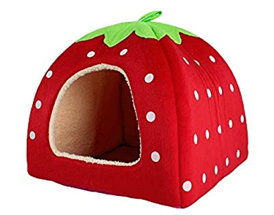 jysport mascota casa Lovely rojo fresa cachemir cálido perro gato Nest plegable cama