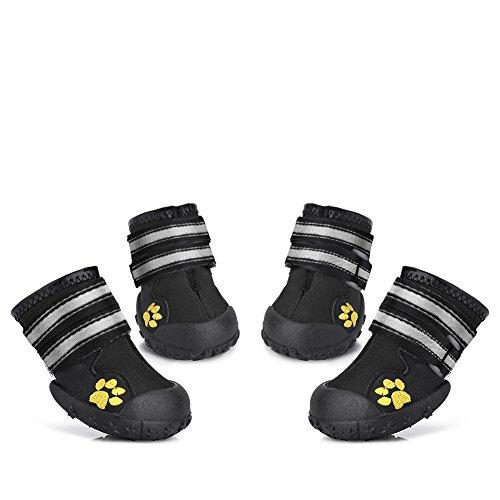 Petacc 4Pcs Hundeschuhe Rutschfeste Schuhe für Hunde Stiefel für Hund Pfotenschutz Hund (5#)