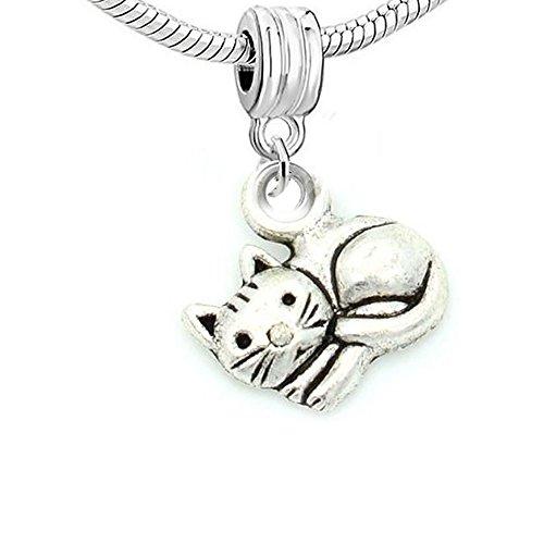Katze Charm Armband (Sexy Sparkles Damen Gelockt bis Charm Bead Katze kompatibel für die meisten Schlange Kette Armbänder)