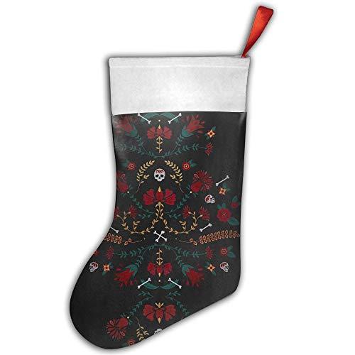 VBNCMX Halloween-Totenkopf-Blume, personalisierbare Weihnachtsstrümpfe, Tasche, Socken, Weihnachtsbaum-Dekoration