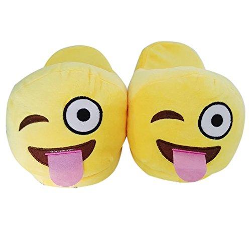 YUMOMO Unisex Emoji Faccine Pantofole Caldo Inverno Peluche Carino Cartone Morbido Uomo Donna (Wink)