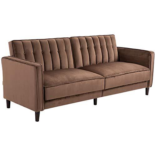 HOMCOM Schlafsofa 3 Sitzer Polstersofa Couch mit Dicker Polsterung Schlaffunktion Armlehne Holz Flanell Metall Braun 205 x 98 x 98 cm