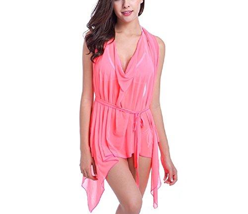 Shangrui Donna Costume Da Bagno Serie Elevata elasticità Filato Netto Variabile Spiaggia Gonna Suit(FZSWVB012) Rosa