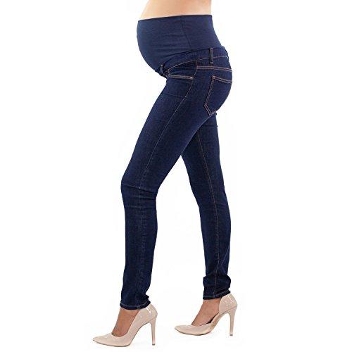 MAMAJEANS Skinny Fit Umstandsjeans, Grundlegende Jeggings Einfach Und Super Elastisch, Bequem Und Modisch - Made in Italy (XS, Denim) -