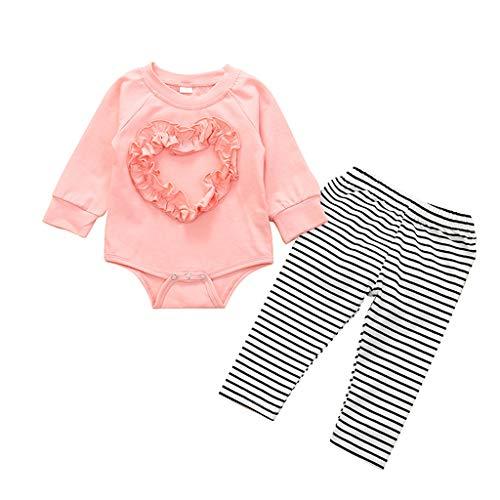Sayla Valentinstag Baby Jungen Mädchen Spielanzug Tops + Streifen Hosen Outfits, Kleinkind Kleidung Spielanzug Set, Baby Jungen Mädchen 2 Stück Outfits Langarm und HosenSchlafanzug Kleidung Sets