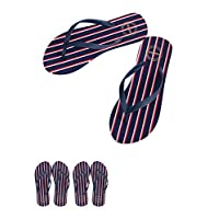 Miniso Women's Stripes Flip Flops L40/41(Dark Blue+Red+White)