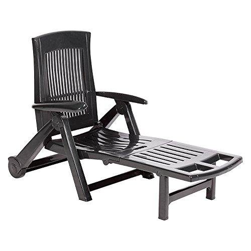 XL Liege mit hohem Liege- + Sitzkomfort Sonnenliege Gartenliege Relaxliege Saunaliege Kunststoff Anthrazit 195x72x101cm