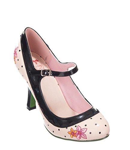 Dancing Days HENLEY Vintage Riemchen Polka Dots Hibiscus Pumps Rockabilly Rosa mit schwarzen Dots / Schwarz