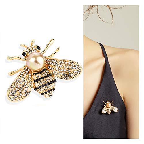 Gleamart Honig-Bienen-Brosche Strass Insekt Tier Broschen für Mädchen-Frauen Gold