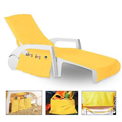 K.A Frottee Schonbezug für Gartenliege Strandliege Liegenbezug 70 cm x 200 cm mit 6 Taschen (Gelb)