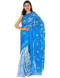 TJ SAREES Women's Reshom Dhakai Jamdani Saree with Blouse Piece(TJ500094_Sky Blue and White_Free Size)