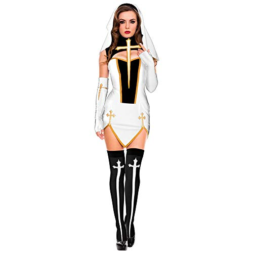 Play Kostüm Cross - Cossll498 Sexy Nun Church Women Cross Split Fancy Dress Role Play Party Cosplay Costume - White