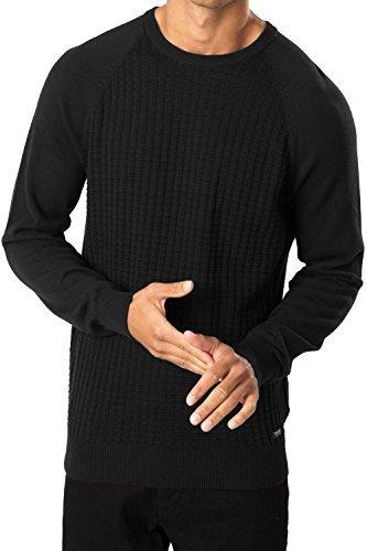 Hommes Pull Tricot Threadbare Vienna Haut Col Rond Tricot Gaufré Pull-over Noir