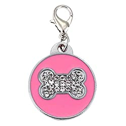 Rrimin Pet Cat Dog ID Tags Customized Personalized Round Feet Shaped Alloy Crystal (Pink)