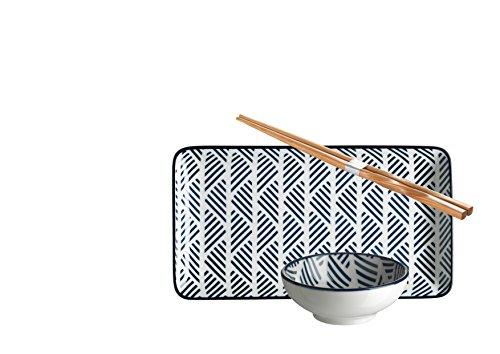 Domestic by Mäser 931028 série Rennes, Sushi - Service 18 pièces, rectangulaire, pour 6 personnes, décoré dans la couleur Porcelaine Bleu, 47 x 30 x 20 CM, 18 unités