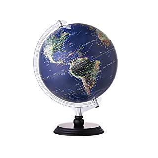 Aibecy Illuminated Globe World Earth 12 inch Tullurion Satellite & Administrative Image Night View Nightlight with Magnifying Glass & Wood Stand Geography Educational Tool Kid Toy G1201-LS