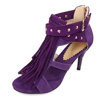 LvYuan Da donna-Sandali-Matrimonio Ufficio e lavoro Casual-Innovativo Club Shoes-A stiletto-Felpato Materiali personalizzati-Nero Blu Viola Rosso Red
